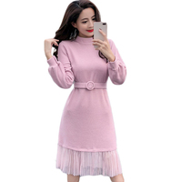 Casual Dress Women Knitted Dress Woman Autumn Winter 2018 Lace Patch Work Women Dresses Long Sleeve Basic Vestidos Mujer D648