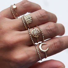 2019 New Bohemian 9 Pcs/set Women Exquisite Crown Moon Heart Dream catcher Hollow Irregular Golden Joint Ring Set Jewelry Gift