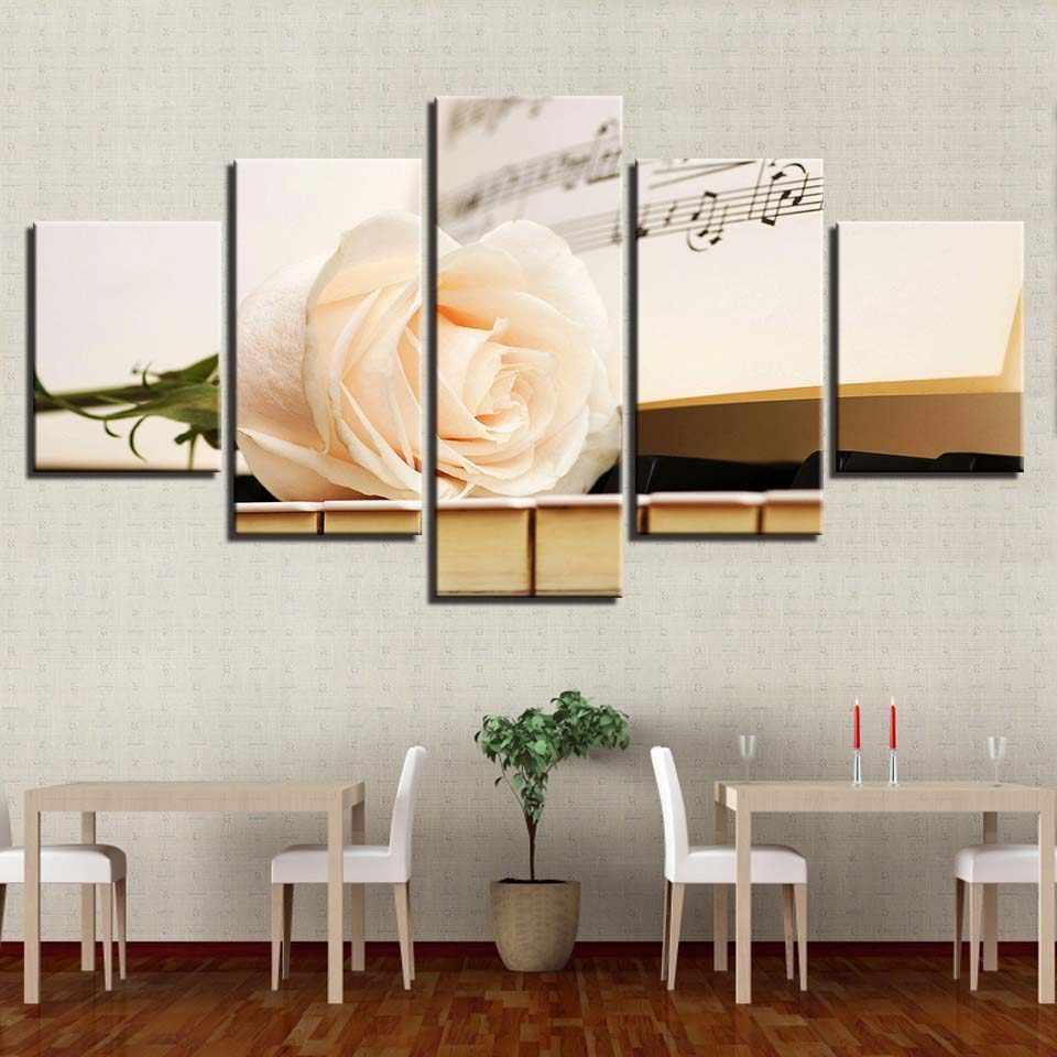 Холст стены Книги по искусству фотографии Домашний декор для Гостиная HD печатает 5 шт. шампанское Rose и Пианино живописи цветок плакат рамки