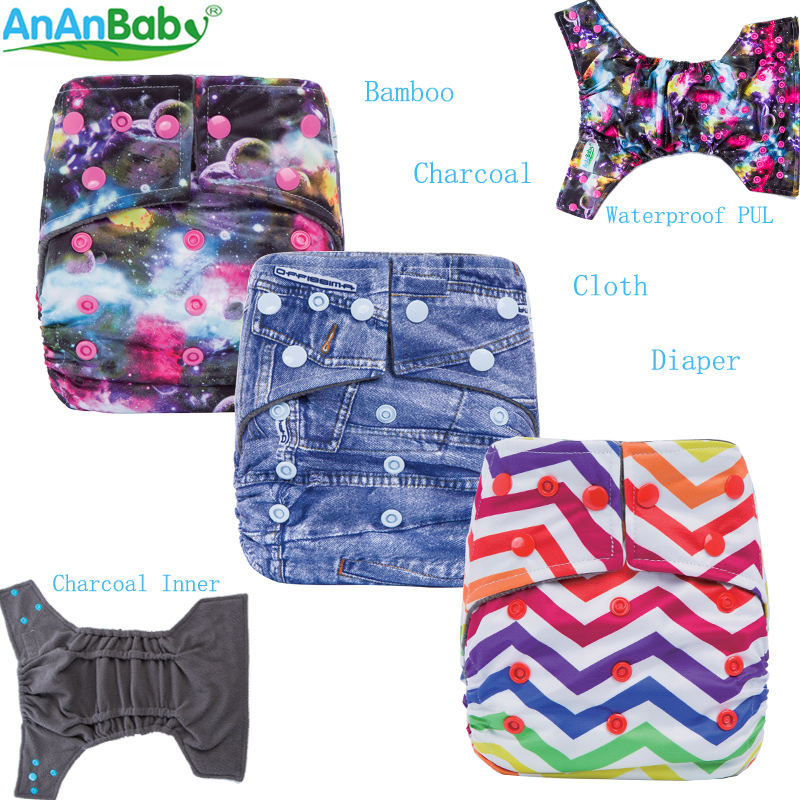 Bamboo Charcoal Diaper Reusable Baby Cloth Diapers Cover With 4 Layer Charcoal Inserts & Double Gussets  Fit 5-12kg  Babies