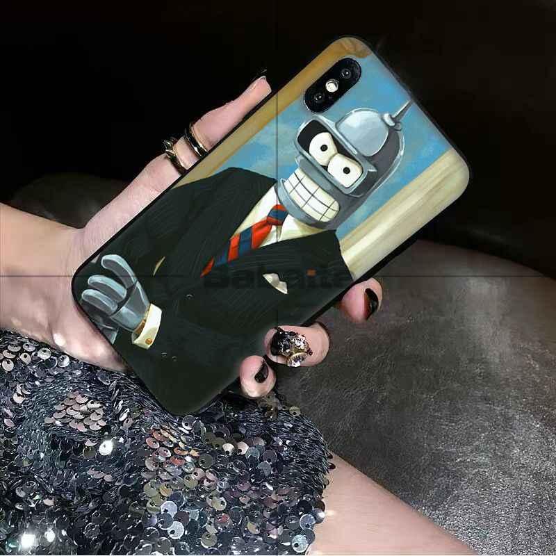 Babaite Futurama Bender Bite My Shiny TPU Мягкий силиконовый черный чехол для телефона iPhone 5 5Sx 6 7 7 plus 8 8 Plus X XS MAX XR