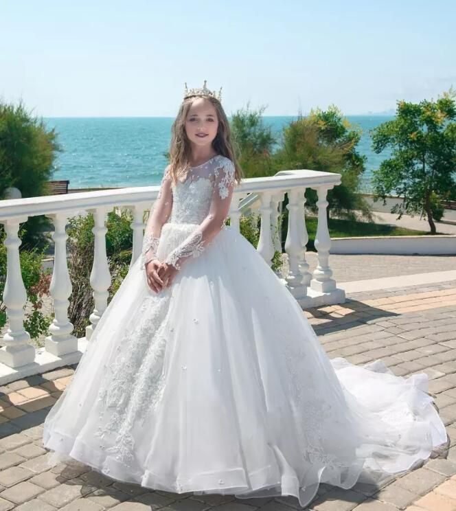 цены Long Sleeve Princess White Flower Girl Dresses for Wedding Jewel Neck Lace Appliques Pageant Dresses Communion Wear