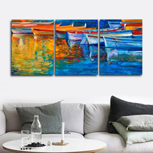 Laeacco 3 Panel Wall Art Seaside Modern Sunrise Posters and Prints Abstract Home Living Room Decor Paintings Pictures