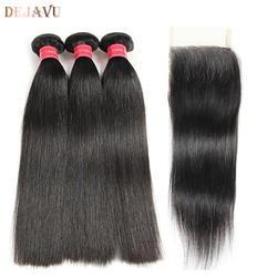 Индийские прямые волосы 3 пучка s с закрытием 100% натуральные волосы пучок s с закрытием 80 г/пучок Dejavu Non remy наращивание волос