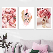 Pink Flowers Nordic Poster Canvas Painting Print Living Room Home Decoration Modern Wall Art Oil Salon Pictures