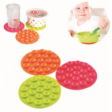 SUEF 1PCS 2019 New Baby Feeding Bowl Cup Anti Slip Placemat Double Sided 19 Suction Sucker Mat Pads Tableware Fixed Non Slip @1(China)