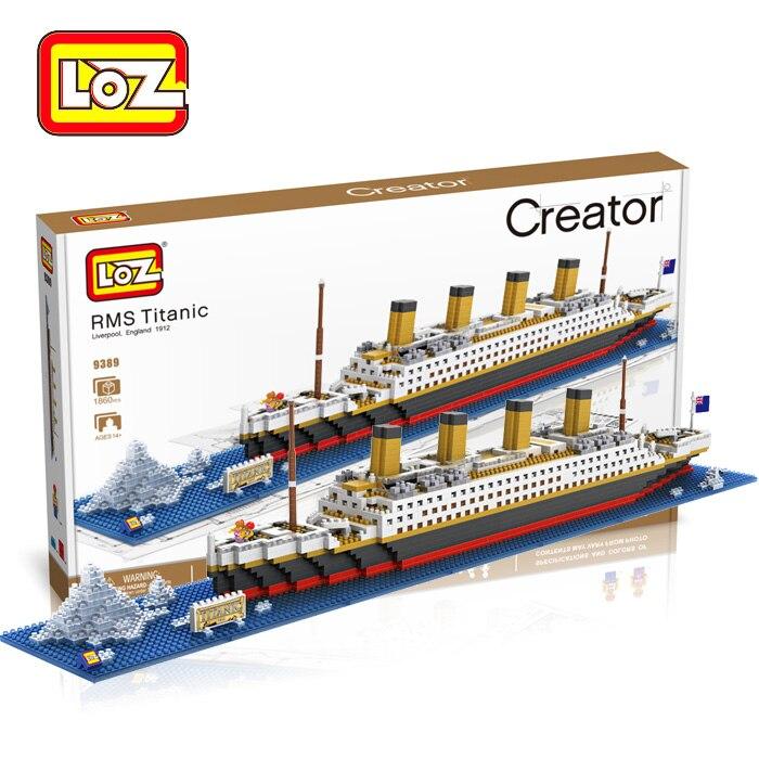 (3set/pack) Wholesale LOZ 9389 Vehicles Blocks Toys RMS Titanic Cruise Ships 1860pcs ABS DIY Coat Blocks Toy New In Box