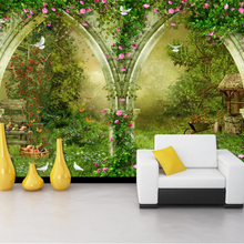 Beibehang Custom wallpaper mural fantasy arches country road Elk deer butterfly Grass 3D