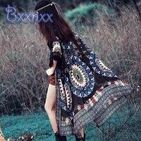 Print Vintage Kaftan Beach Cover Up Kimono Women Long Swim Skirt Chiffon Cover Dress Fringe Swimwear