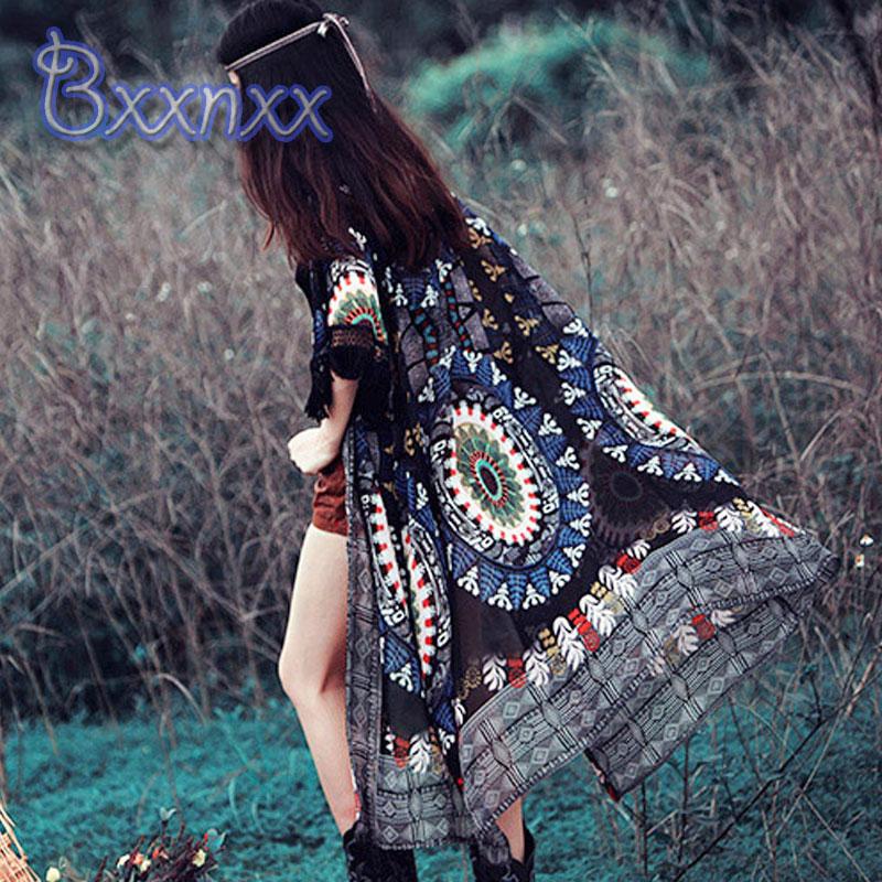 Print Vintage Kaftan Beach Cover Up Retro Women Long Swim Skirt Chiffon Cover Dress Fringe Swimwear