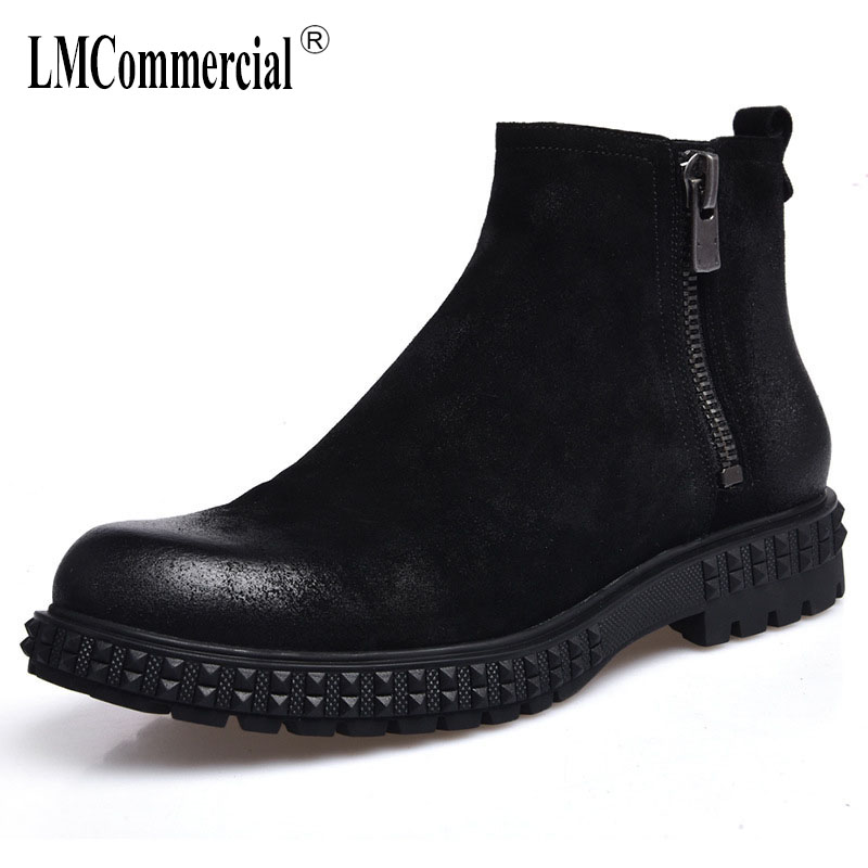 New male Chelsea boots men shoes leather boots men's Martin boots new autumn winter British retro all-match cowhide cashmere europe martin boots male trend of korean in autumn and winter in men shoes chelsea leather boots british retro men casual boots