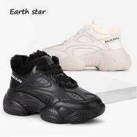 Casual Shoes Women Platform Sneakers zapatillas mujer Genuine Leather Winter New Warm chaussures femme with Fur footware Black