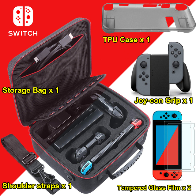 Nintend Switch Accessories Big Capacity EVA Portable Hard Bag Storage Carrying Case & Tempred Glass Film + Joy-con Handle Grips