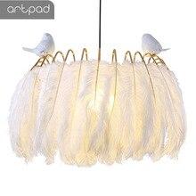 Artpad Nordic Princess White Feather Pendant Lights Living Room Restaurant Shop Store Bedroom Hanging Fixture