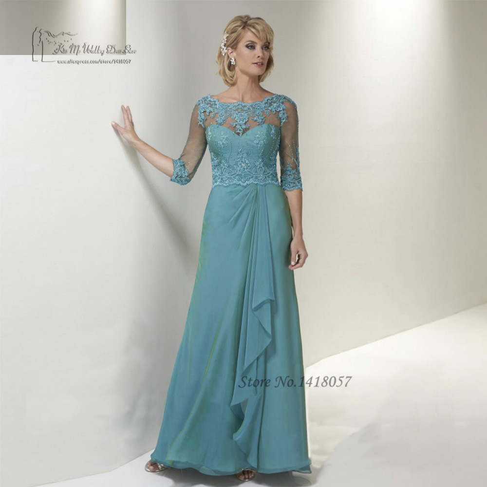 Turquoise Plus Size Mother of the Bride Dresses Lace Evening Party Gowns for Weddings Vestido de Madrinha 2016 Godmother Dress