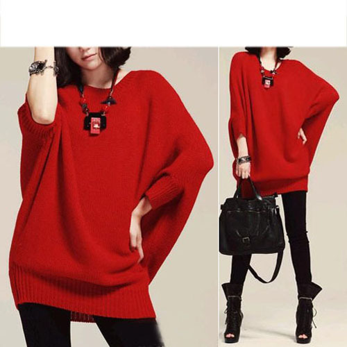 Fashion Women Batwing Baggy Sweater Knitting Pullover Jumper Mini ...