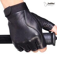 Bahar erkek deri sürüş eldivenleri siyah Antiskid parmaksız eldivenler koyun derisi taktik eldiven açık spor dans eldiven