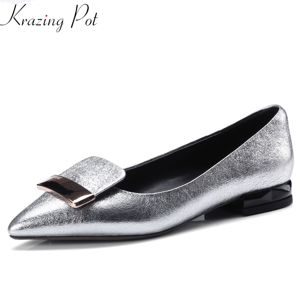 Krazing pot big size summer sweet metal buckle pointed toe low heels sheep leather solid slip on wedding women pumps shoes L25 brand new fashion casual slip on sweet grey white women shoes solid summer style shoes woman 2 colors low square heels pumps