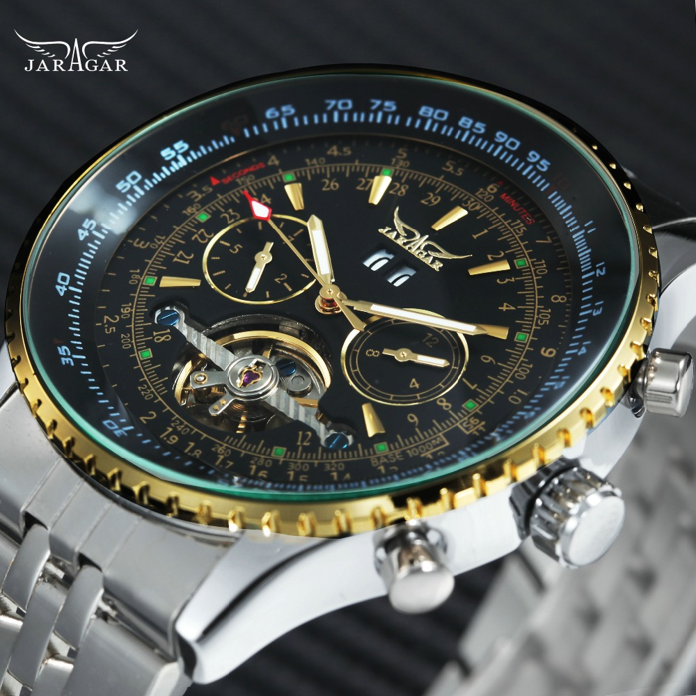 JARAGAR Skeleton Tourbillon Mechanical Watch Men Working Sub-dials Calendar Top Brand Luxury Stainless Steel Strap Wrist Watches jaragar top brand luxury auto men watches tourbillon 2 small working sub dials full steel 2018 new golden mechanical wristwatch