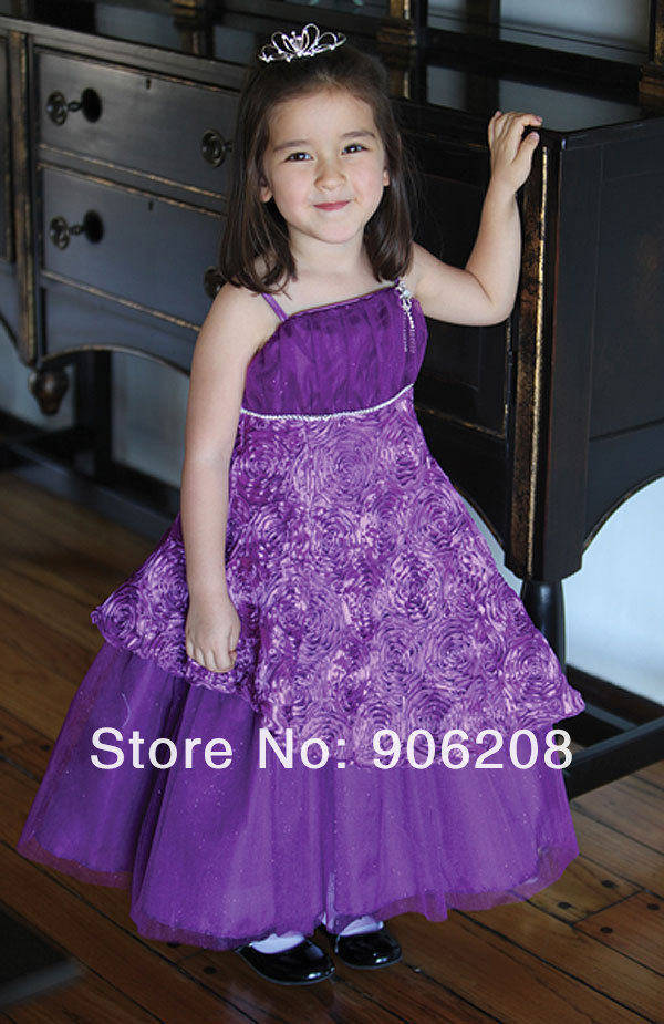 Chiffon Red Satin Belt   Flower     Girl     Dress   Zipper Bowknot Back   Flower   Kid's Little Princess Pleated Wedding