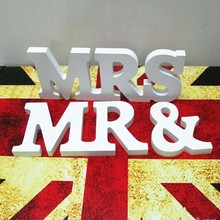 "1 Set Solid Standing ""Mr & Mrs"" White Wooden Letters For Wedding Decoration Sign Top Table Present Decoration"