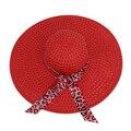 НСБ 2016 НОВЫЙ Красный Лето Изысканный Leopard Bowknot Ленты Оформлен Ажурные Вс Hat Для Женщин