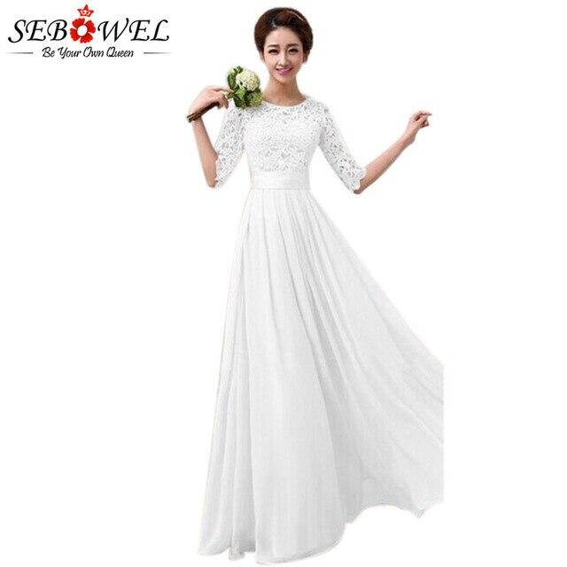 568b16191d0 SEBOWEL 2019 femmes longue robe en mousseline de soie demi manches Maxi robe  blanc Princes demoiselle