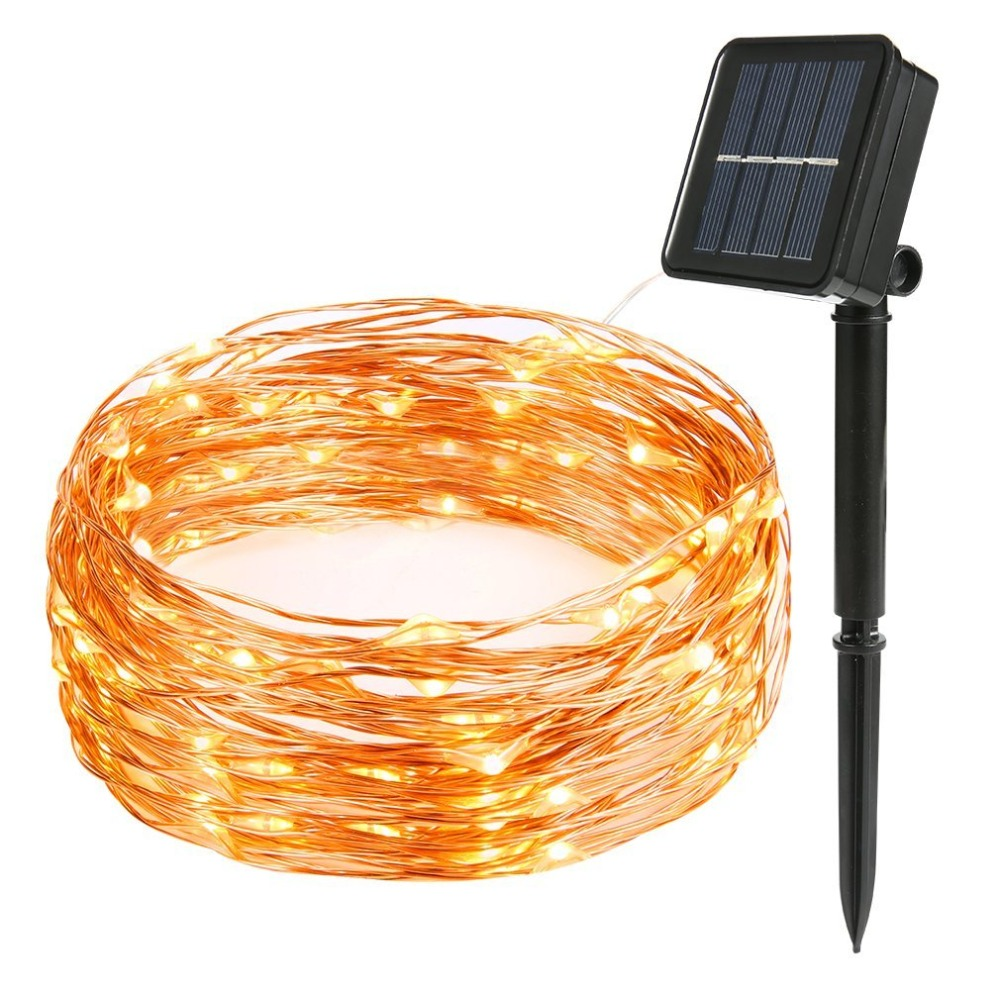 LED Solar String 8mode Fairy Light Christmas Lights 12m 100LED Copper Wire Wedding Party Decor Lamp Garland Warm White