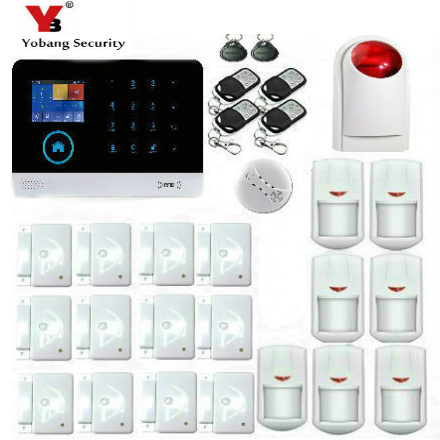 YoBang Security Wireless GSM Touch HD Screen Home Office Security System , Smoke Sensor Alarm Support IOS Android Application.
