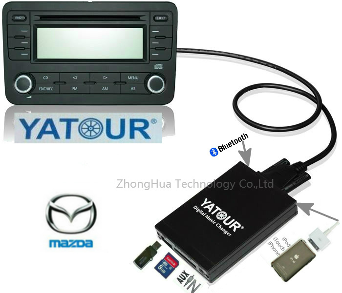 Yatour YTM07 Car Audio Digital Music CD changer USB SD AUX Bluetooth ipod iphone interface for Mazda MP3 Adapter Player