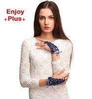 18% OFF Desinger brand vrouwen handschoen nieuwe luvas feminina 2016 PU zwart kunstleer vingerloze party bloem armband guantes mujer
