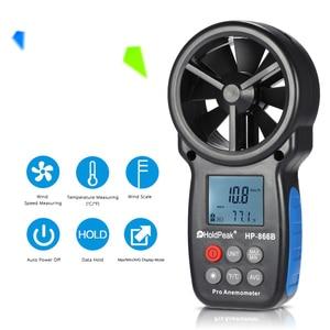 Image 5 - KKMOON Mini LCD Digital Anemometer thermometer anemometro Wind Meter Speed Air Velocity Temperature Tester HoldPeak HP 866B