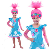 Trolls Poppy Cosplay Costume For Girls Clothes Wig Halloween Carnival Costume for Kids Party Dress