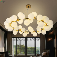 ФОТО nordic magic beans foyer g4 led chandelier creative frosted glass iron bedroom chandelier round diningroom led chandelier lamp