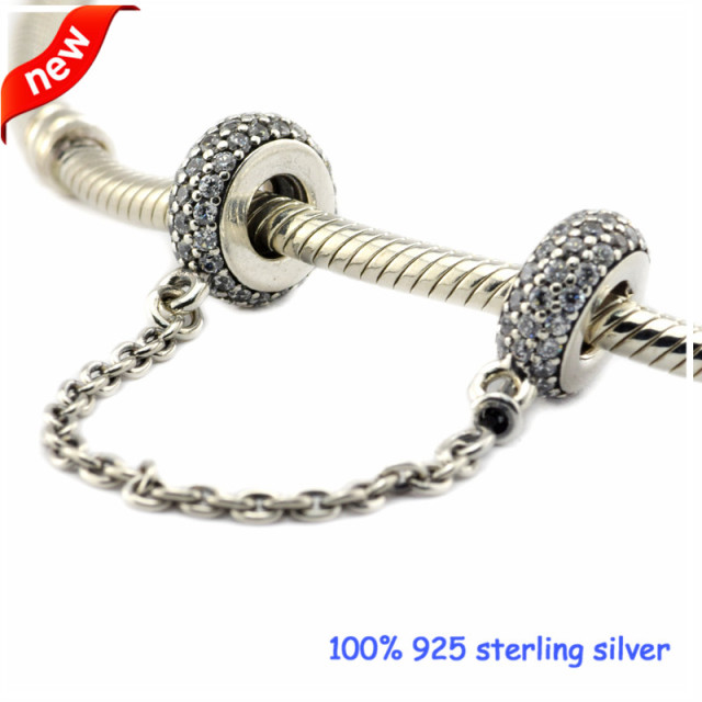 Fits Pandora Bracelets Pave Inspiration Safety Chain Silver Beads 100% 925 Sterling Silver Charms DIY Jewelry 11S016