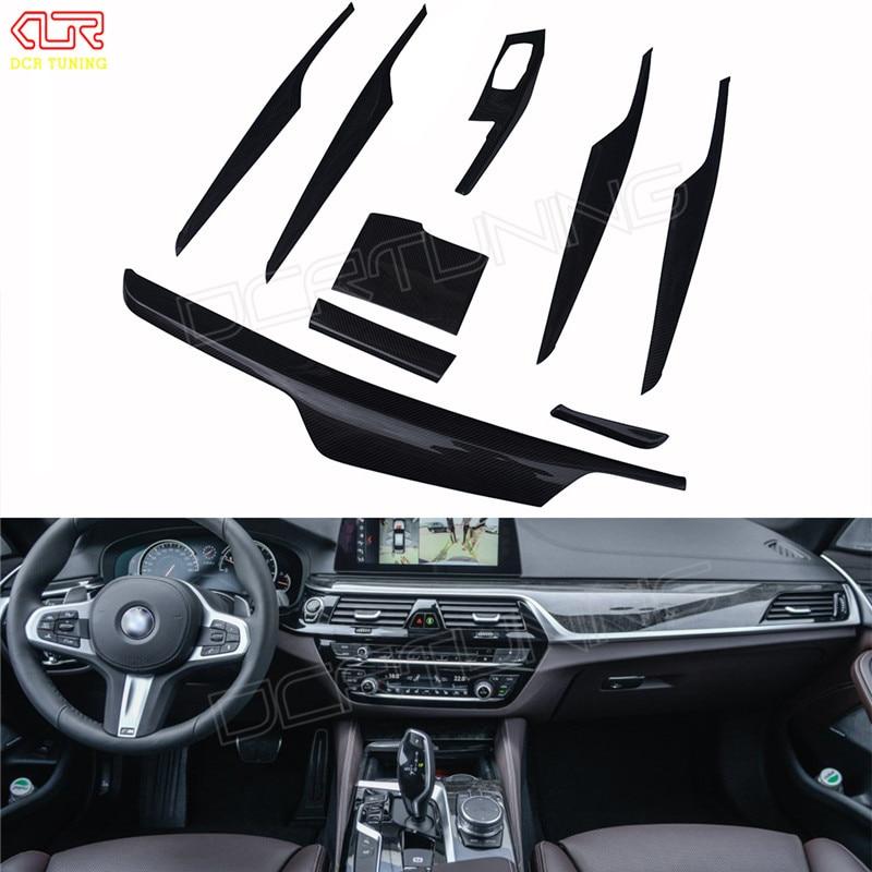 9 pcs / Set For BMW 5 Series G30 G38 Carbon Fiber Interior Trim Cover Only Left Hand Drive Gloss Black Carbon Trim 2017 + bqlzr diy 9 1x10x5cm black plastic left