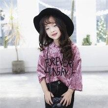 Tong 2017 nouveau printemps enfants roundneck T-shirt filles Coréennes chemise jinsirong lettres livraison gratuite
