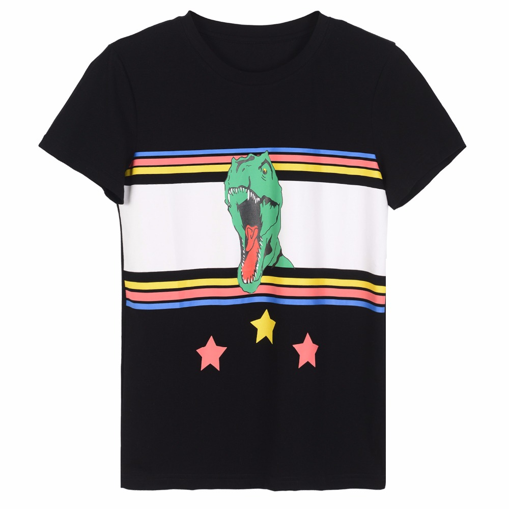 3f81908779 Women Summer Black White T-Shirt Men Rainbow Striped Dinosaur Stars  Printing T-shirt Tee Top Loose Simple T-Shirt