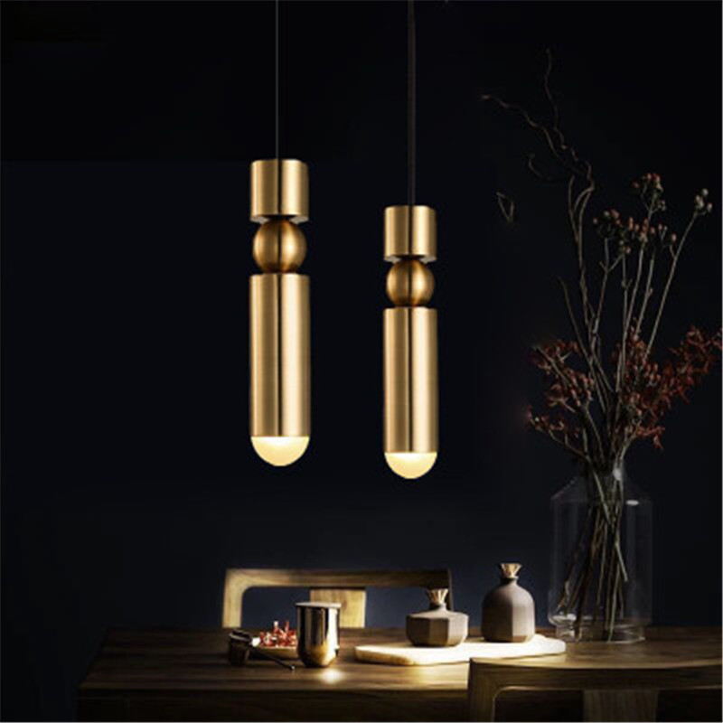 Nordic Creative Bedroom Bedside Led Pendant Light Vintage Chrome Brass Metal Bullet Design Study Aisle Kitchen Light Fixtures