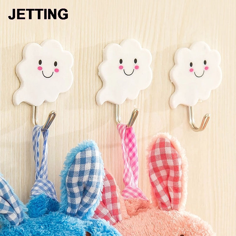 3 PCS Seamless White Clouds Super Strong Sticky Hooks Multipurpose Metal-Fast Nail Coat Robe Hooks Bathroom Hardware
