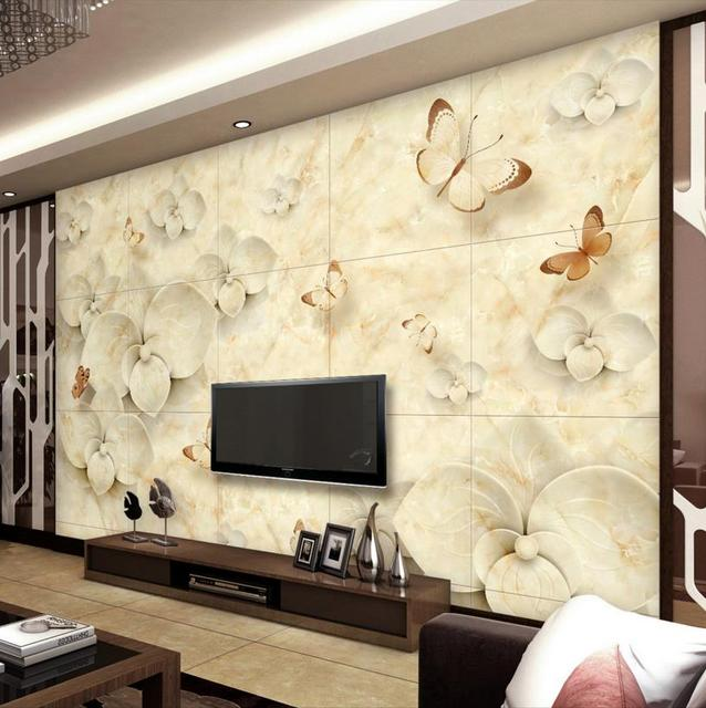 3D Stein Tapete Benutzerdefinierte Marmor Phalaenopsis Wohnzimmer Tapete  Vliestapete Rollen