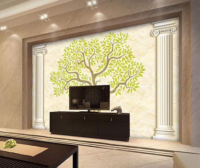 Modern minimalist abstract tree Roman column TV background wall ...