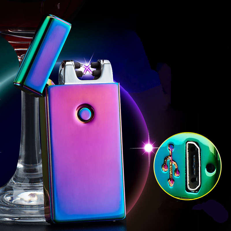 High Quality Cross Double Arc Plasma Lighter USB Pulse Windproof Lighter Metal Electronic Cigarette Lighter Gifts -BSG307