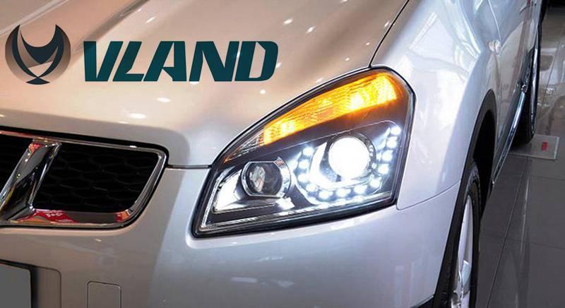 VLAND manufacturer for Car head lamp for Qashqai LED Headlight 2008 2009 2010 2011 2012 Head light with H7 Xenon lamp vland 2pcs car light led headlight for jetta headlight 2011 2012 2013 2014 demon eyes head lamp