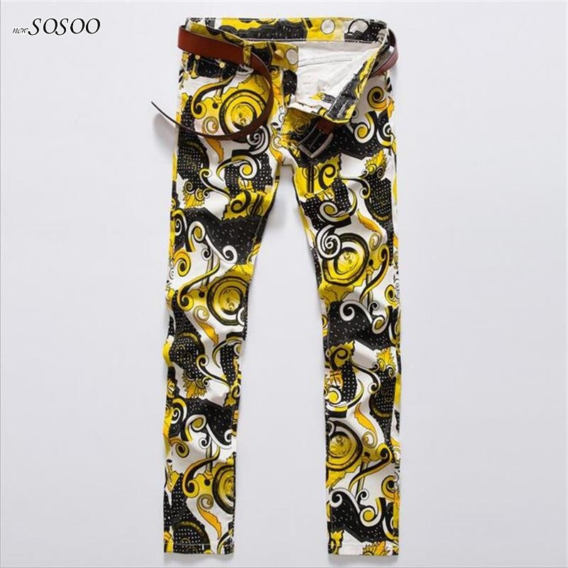 2018 spring new young man autumn stretch Skinny jeans fashion Color printing design slim jeans pants jeans #580
