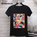 "Donna S-4XL Plus Size Women T Shirt Colorful Floral And ""SMILE FOR ME!"" Printed Short Sleeve Harajuku Style Summer T-shirt T525Z"