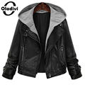 Oladivi 2016 Women Slim Short Design Motorcycle Leather Jackets Spring Autumn and Winter PU Coat Tops Outerwear XL 5XL Plus Size