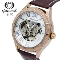 Gucamel Relógio Por Atacado Esqueleto Auto Mecânica Assista Homens Sporty Simples Festa Sporty Relógios de Couro Marrom Do Vintage