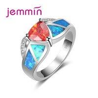 Jemmin Wholesale Retail Shining Ring Blue Fire Opal Orange Stone For Women Wedding Opal Jewelry Rings