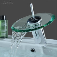 Hot Sale Copper Round Glass Waterfall Basin Faucet Single Lever Mixer Sink Tap Cylindrical Chrome Bathroom